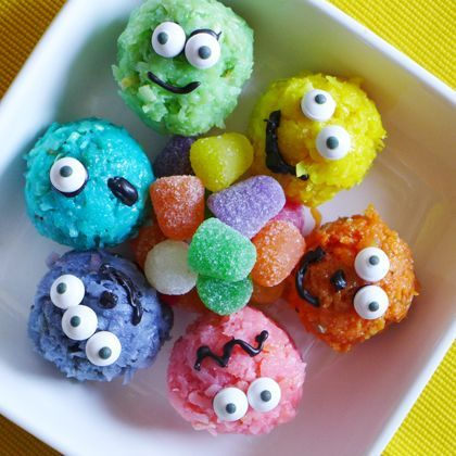 """Coconut Monster Bites - cute idea if you're doing a """"Monsters"""" party!"""