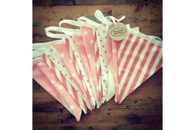Pastel Pink Fabric Bunting - Doublesided (4m) by Lattice and Lace on hellopretty.co.za