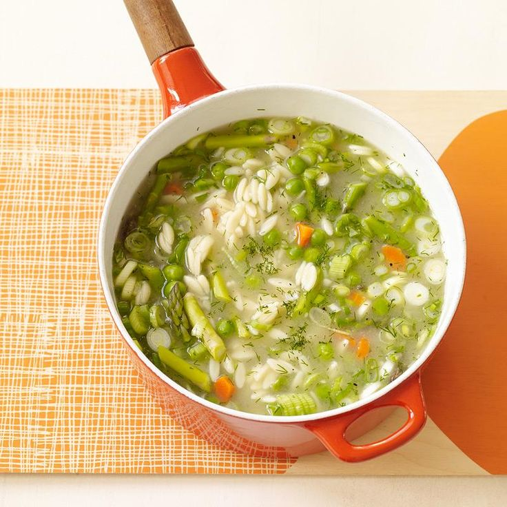 This spring veggie soup is the perfect companion for a rainy spring day. It's light, bright and bursting with spring vegetables and fresh dill.