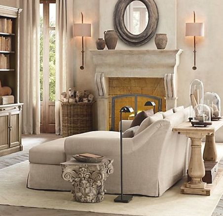 weathered neutrals: Decor, Living Rooms, Restoration Hardware, Idea, Fireplaces, Sofas Tables, Interiors Design, Tv Rooms, French Style
