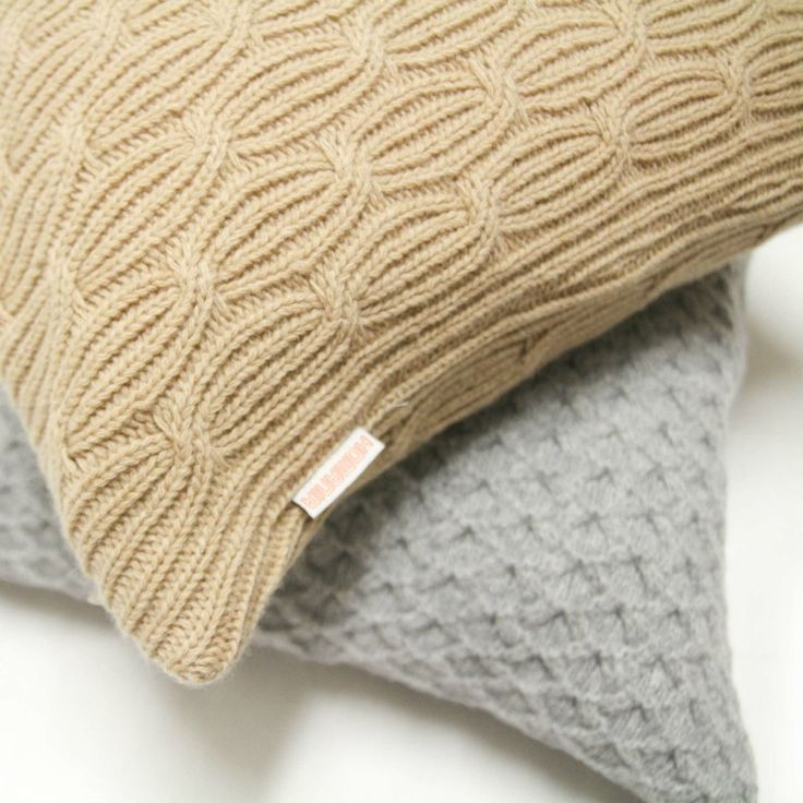 Plume Silk Lambswool Collection - Beige Knit Cushion #bedroomdecor #modernbedroom bed linen, pillows, throws | Shop at http://plumesilk.com/decoration/14-beige-knit-cushion.html