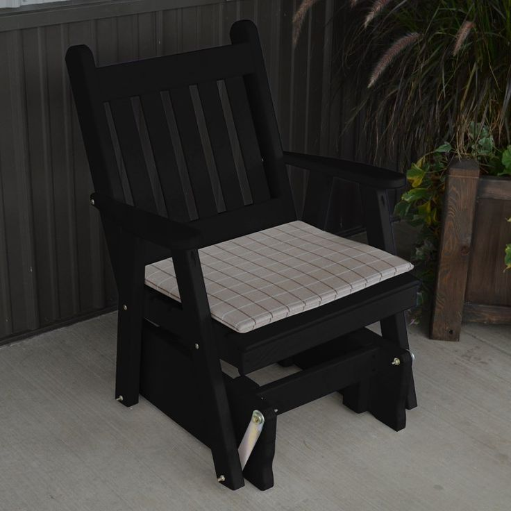 A & L Furniture Yellow Pine Traditional English 2 ft. Outdoor Glider Chair Black - 654-BKP BLACK