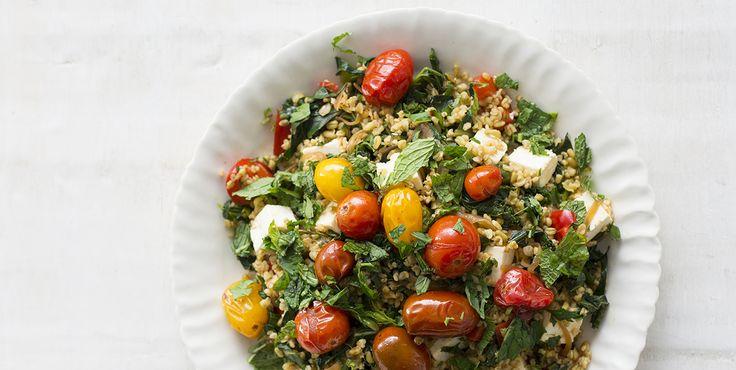 Freekeh with Feta, Roast Tomatoes and Herbs via @iquitsugar