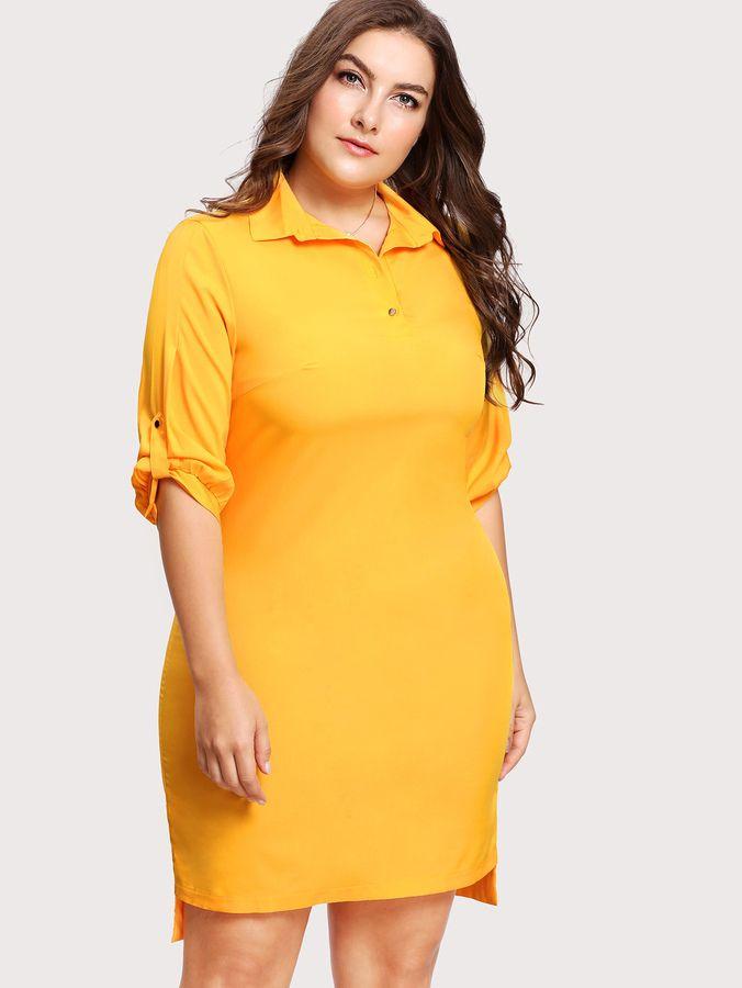Plus Size High Low Shirt Dress