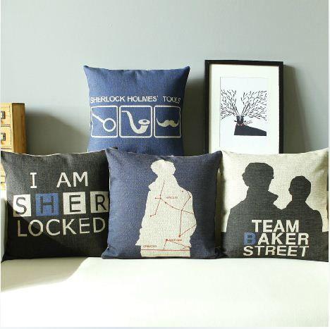 British style black blue theme Sherlock by Lovelypillowcases, $17.99