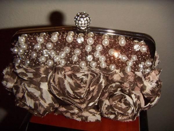 'Vintage style brown animal print formal/bridal bag ' is going up for auction at 12am Thu, Aug 8 with a starting bid of $12.