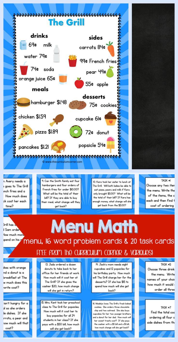 Freebie Menu Math, Word Problem Cards, Task Cards For 4th & 5th Grade Math