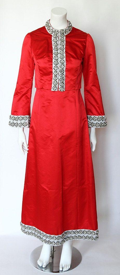 VENTE ! des années 1960 vintage rouge soie Satin argent perles modèle longue a-ligne robe de soirée assortis boléro, environ 36/38