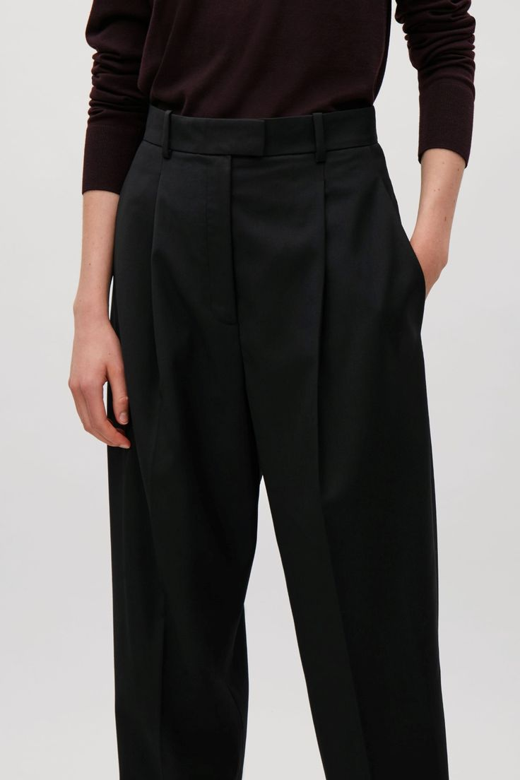 COS image 2 of Lightweight wool tapered trousers in Black