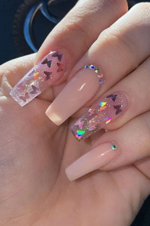 Light Pink Butterfly Nails In 2020 Pink Acrylic Nails Purple Acrylic Nails Light Pink Acrylic Nails