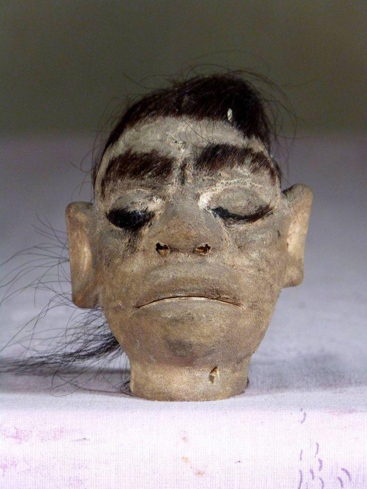 Antique for sale Shrunken head or tsantsa Shuar or Jivaro from Amazonia Mask Head Sculpture Fine arts architecture