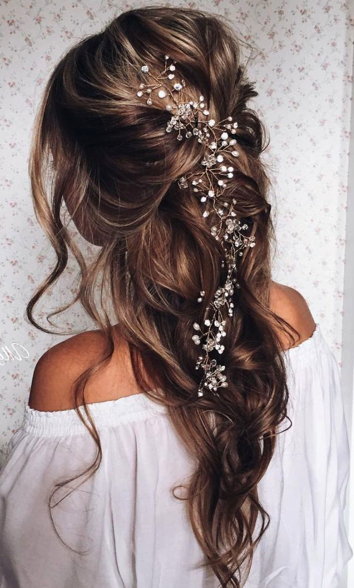 Awesome Half Up Half Down Wedding Hairstyle Ideas Long Hair Styles Loose Hairstyles Hair Vine Wedding