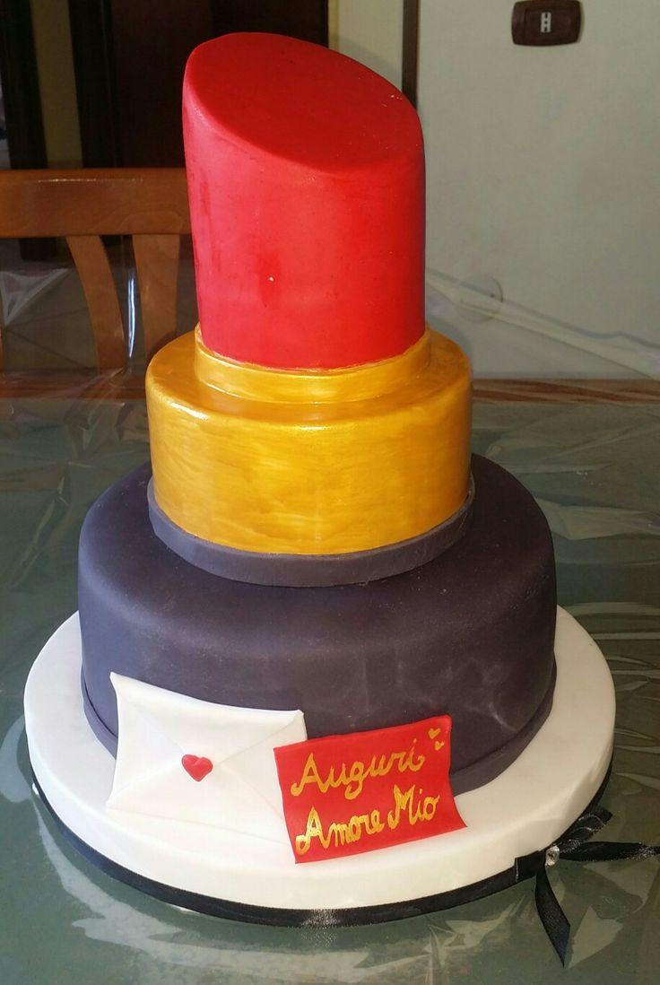 Big red lip stick cake