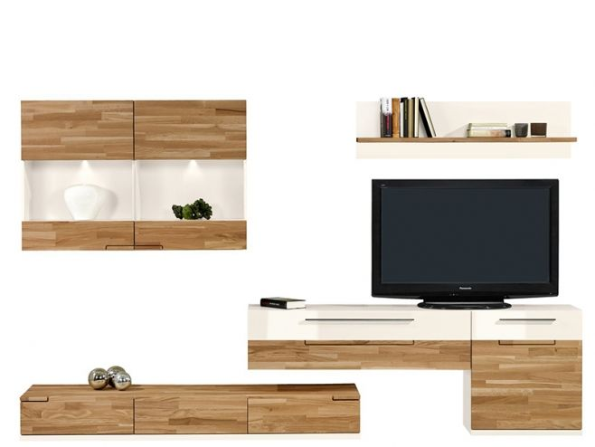 Modern Arte M Feel Solid Oak And High Gloss White Or Grey Wall Storage  System