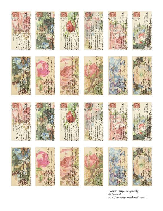 Free domino images 1x2 inch size on Digital collage sheet for Free made by FrezeArt