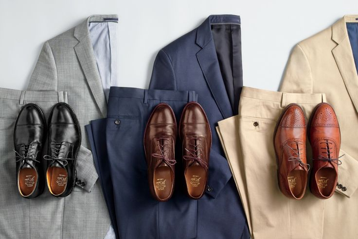 J.Crew men's monthly memo on work dressing. How to match dress shoes to your look. Black shoes go with a grey suit. Brown shoes go with a blue one or chinos.