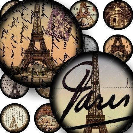 French Paris digital collage sheet in 1 inch circles for bottlecaps and more -- piddix no. 677