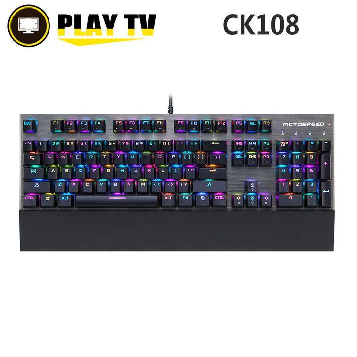 Original Motospeed CK108  RGB blue switch Mechanical Keyboard Gaming Wired LED Backlit Backlight for Gamer PC desktop laptop #Affiliate