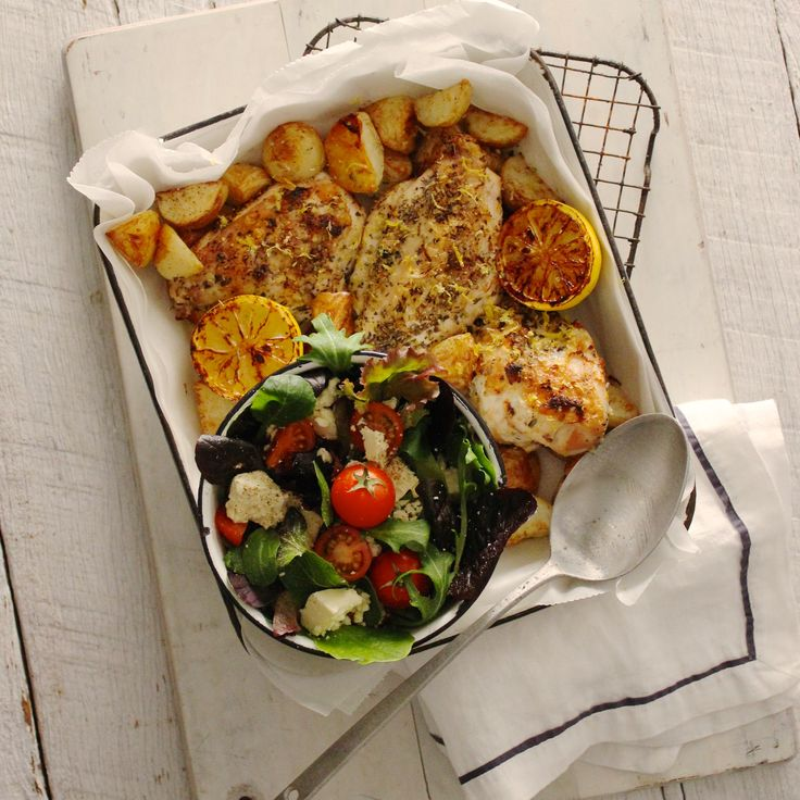 lemon oregano chicken with roast potatoes feta salad hit the spot with ...