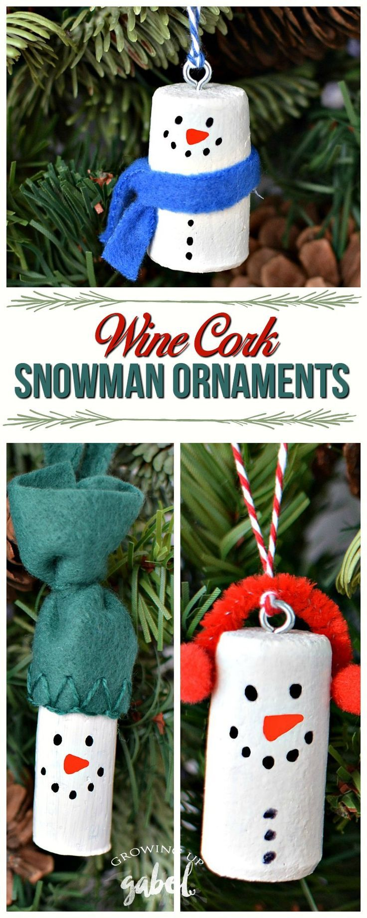 Make DIY wine cork snowman Christmas tree ornaments using old wine corks! Three variations on these cute wine cork Christmas ornaments! Great for kids to make for family and friends! #snowman #ChristmasOrnaments