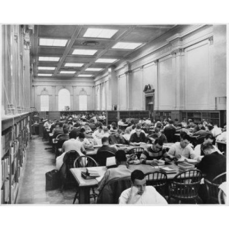 Group of people reading books in a library University of Arkansas Fayetteville Arkansas USA Canvas Art - (18 x 24)