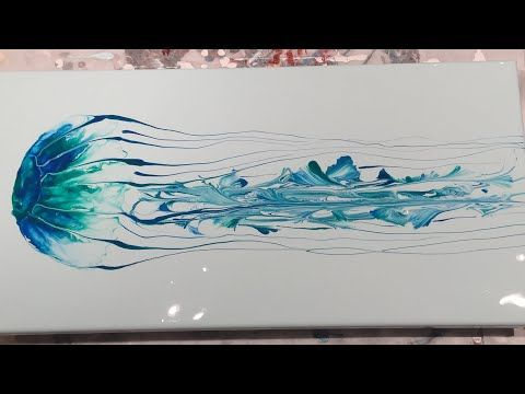 (144) Acrylic Pouring – Flow Art – Jellyfish Using Blowing and String Pull Techn…