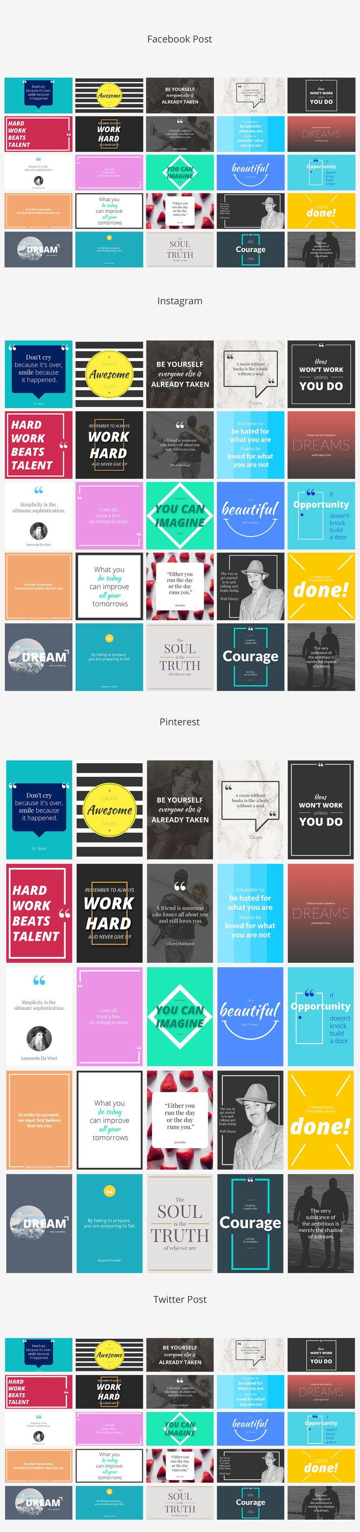 Quotes Social Media Banners by Web Donut on @creativemarket