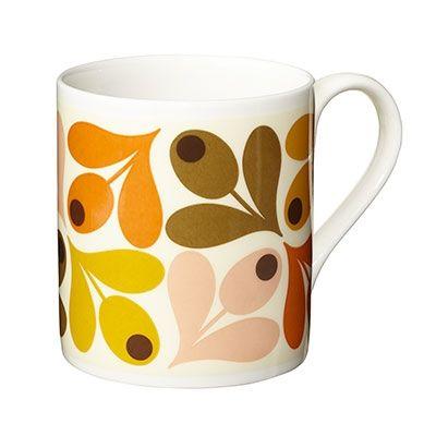 Orange Multi Acorn Mug by Orla Kiely bone china