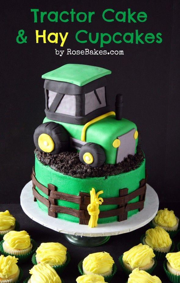 John Deere Green Tractor Cake & Hay Bale Cupcakes