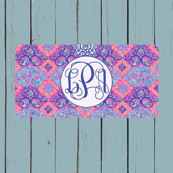 Monogram License Plate  Lily Pulitzer Inspired by CASESJUSTFORYOU