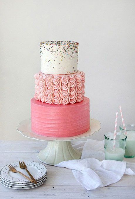 Pink and White Wedding Cake with Rainbow Sprinkles   Brides.com