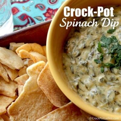 Crock-Pot Warm Spinach Dip - uses 8oz baby spinach, 8oz cream cheese, 8oz mozzarella cheese, 1 cup parmesan, onion. Takes 3-4 hours.