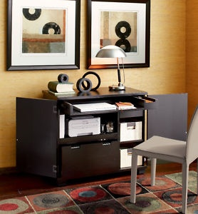 Compact Computer Cabinet Desk Home Office Printer Table Ebay