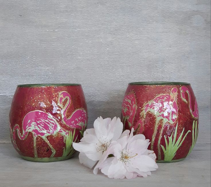 Votive, tea lights, tealights, candle holders, candles, pink flamingos, decorative ornaments, cute candle holders, yellow candle holders by StyxOnGlass on Etsy