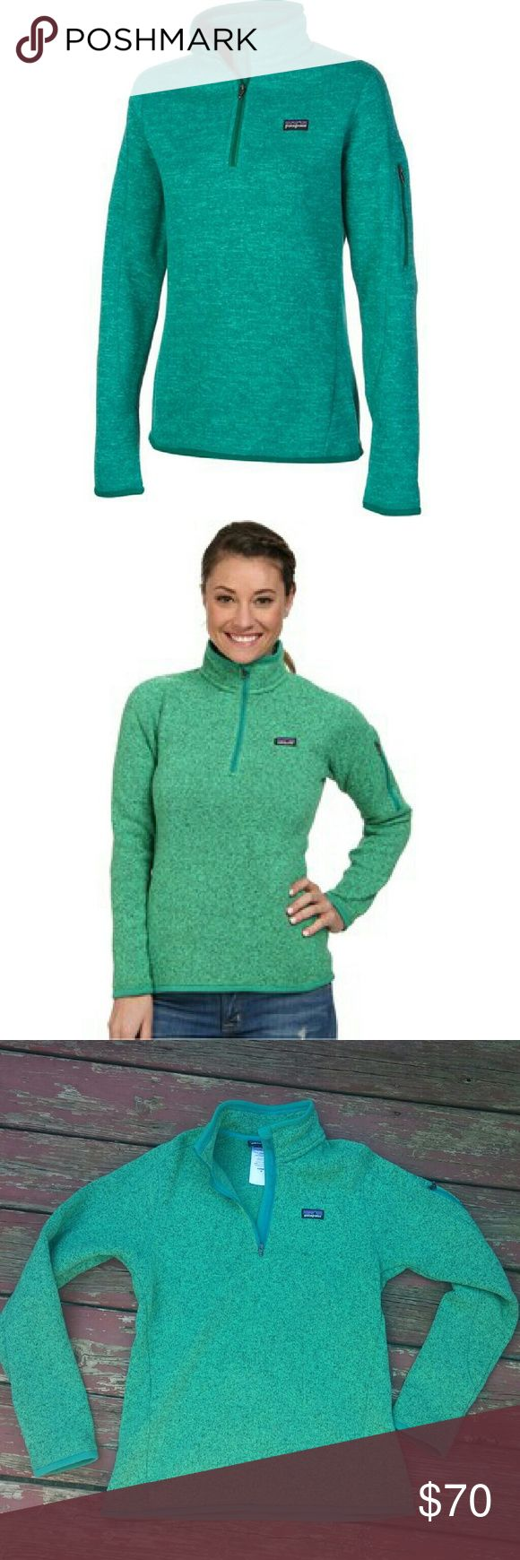 NWOT Patagonia 3/4 Fleece Pullover Fall Esential Alert! Get ready for that crisp fall air with this super cute Patagonia pullover. Super comfy, warm, and cozy! No condition! Breathtaking green color with arm pocket and front pockets! Patagonia Tops Sweatshirts & Hoodies