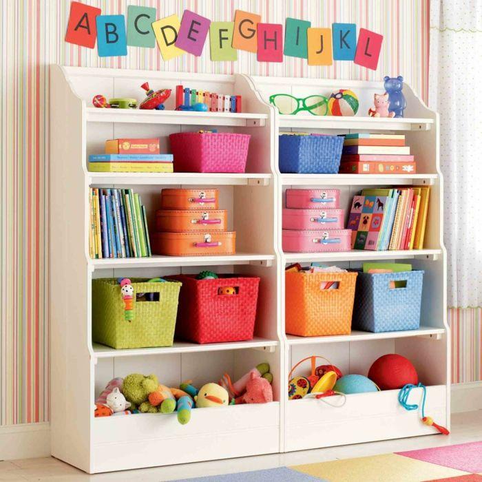 stauraum ideen kinderzimmer aufbewahrungskörbe farbig ordnung