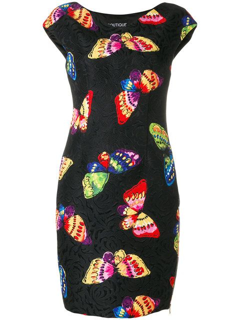Shop Boutique Moschino butterfly print dress.