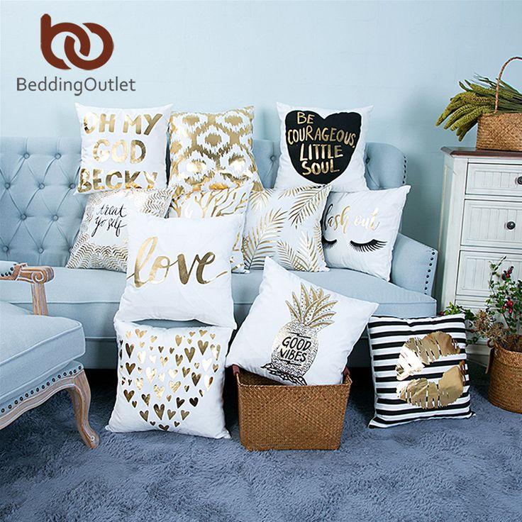 BeddingOutlet Bronzing Christmas Cushion Cover Gold Printed Pillow Cover Decorative Pillow Case Sofa Seat Car Pillowcase Soft  Price: 3.81 USD