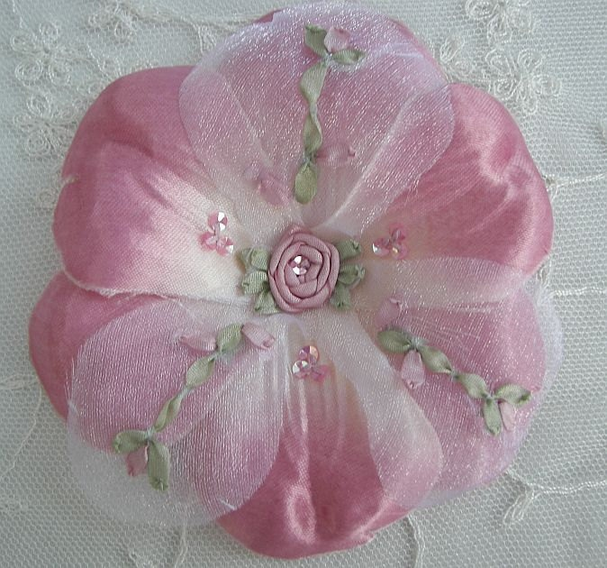 Beaded Fabric Ribbon Flower Applique w Sequins Embroidered w Rose Buds Satin Organza Rose Pink Corsage Pin Brooch Hair Accessory Baby Bow. $3.99, via Etsy.