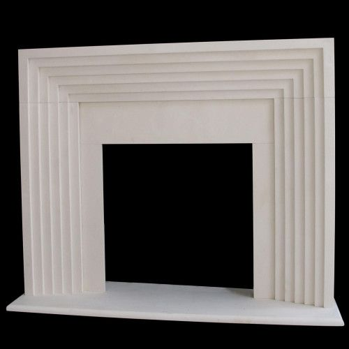 deco modern fireplace mantel with hearth and step surround design - Fireplace Surround Ideas