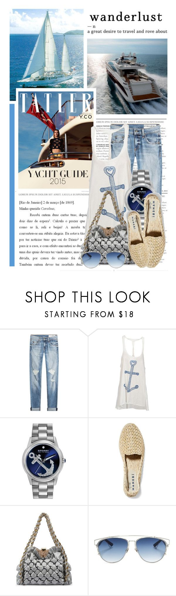 """A Day on the Yacht"" by queenrachietemplateaddict ❤ liked on Polyvore featuring rag & bone, Mason's, Sperry, Manebí, Christian Dior, blueandwhite, Nautical, espadrilles, sailing and yacht"