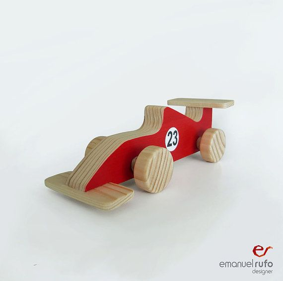 Let your child imagine that he/she is running in a race track, with this stunning wooden Formula 1 car.  It is entirely handmade in natural wood