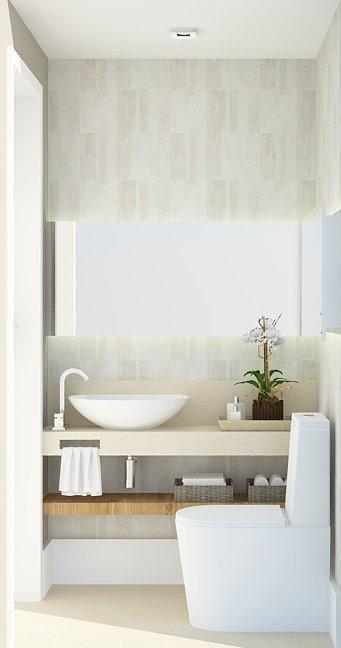 Lavabo Clean Papel de parede, bancada em mármore crema marfil, espelho em L. Projeto: Alessandra Onofri
