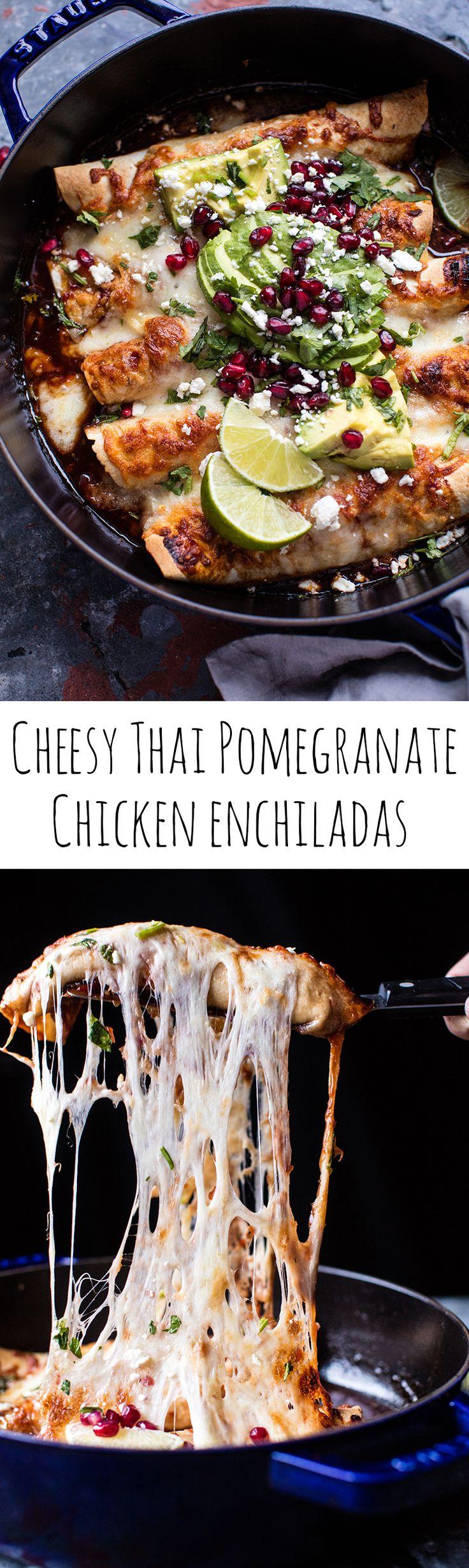 Cheesy Sweet and Sour Pomegranate Thai Chicken Enchiladas | halfbakedharvest.com @hbharvest