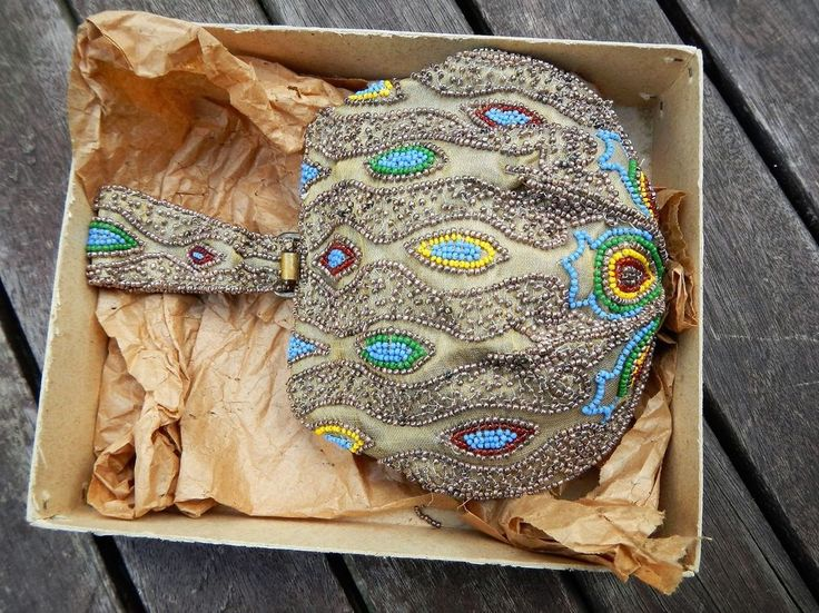 Perlenbeutel Tasche Perlenstickerei Beutel Perlen Antik