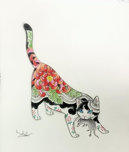 "ilikehorimono: "" Color pencil drawing #horitomo #monmoncat #monmoncats #drawing #catart #catlover #catlivers #tattooed #tattooedcat #neko #japaneseart #japanesestyle by horitomo_stateofgrace https://instagram.com/p/9HuvgvMVFB/ """