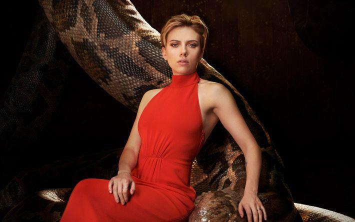 Descargar fondos de pantalla Scarlett Johansson, con un vestido rojo, la actriz estadounidense de 2017, belleza