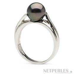 Anello in Argento 925 con perla nera di Tahiti 8-9 mm AAA