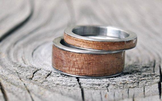 anneaux de bois en acier inoxydable, bague en titane, en acier inoxydable bague de mariage, bague d'homme en acier inoxydable graver personnalisé personnaliser, titane