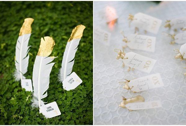 Feder Originelle Tischkarten goldene Hochzeit drucken table card wedding DIY Originelle und Einzigartige Tischkarten für die Hochzeit – Hochzeitsdeko Ideen